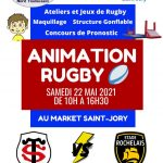 Démonstration de rugby sur le parking du Carrefour Market
